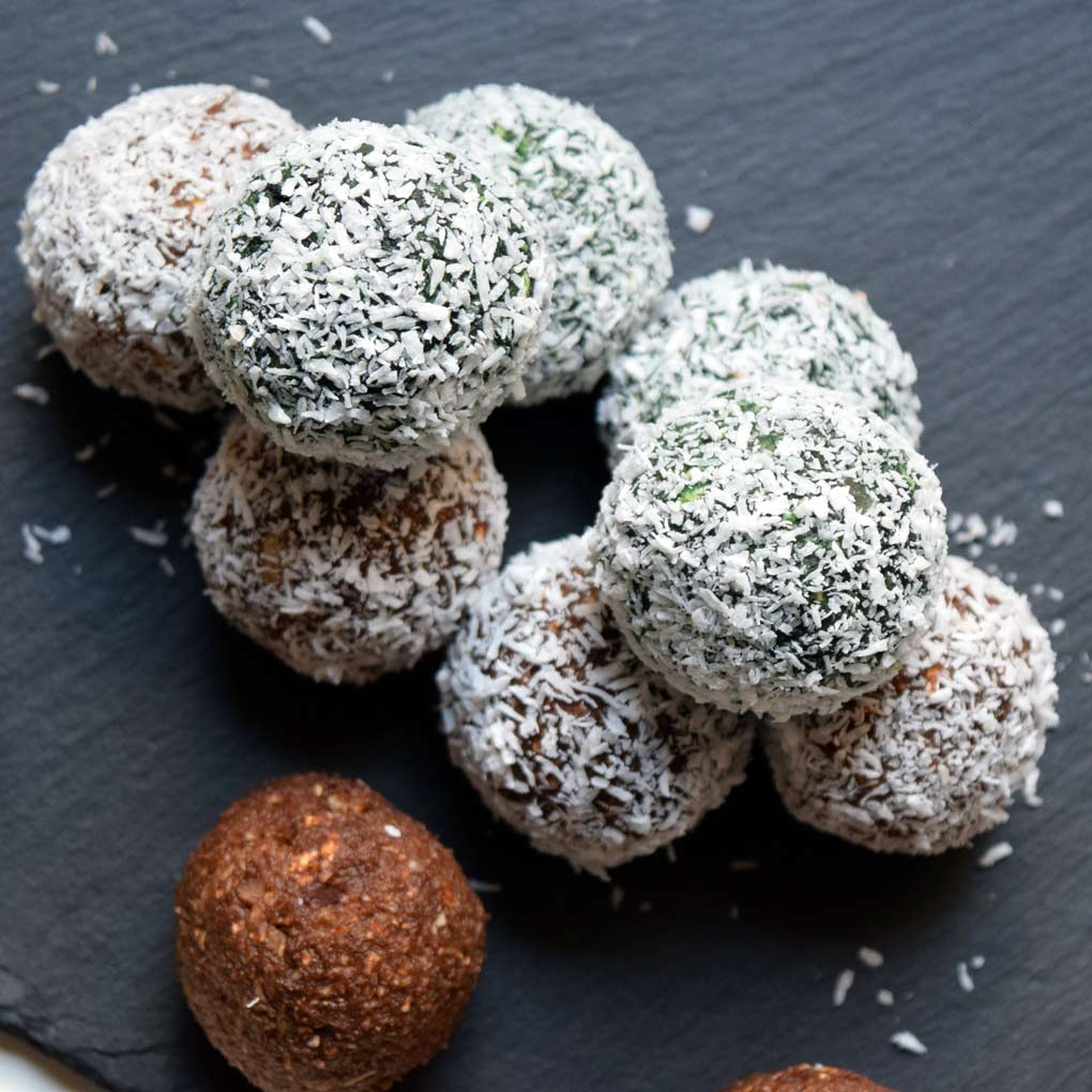 protein balls covered with grated coconut