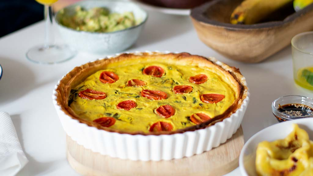 Spinach and Cherry Tomato Vegan Quiché